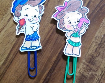 Boy and Girl Ice Cream Paperclip Set for Planner