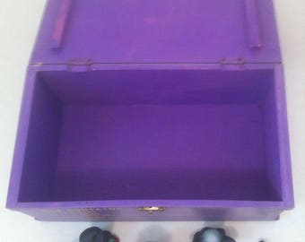 Vintage Wooden Purple Storage Box, Used to be a Pumpkin Making Kit, Comes with Ceramic Halloween Decorations, 10 1/2 x 6 x 4 1/2