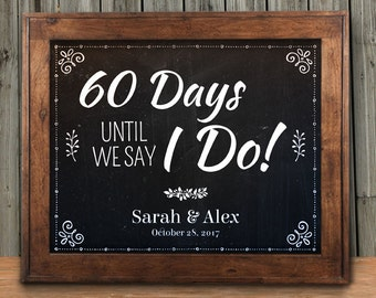 "Printable Chalkboard Wedding Countdown Signs - Black, 2 sizes: 10""x8"" and 14""x11"", Editable PDF, Instant Download"