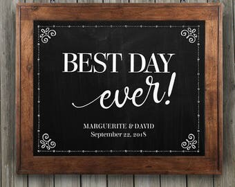 """Printable Chalkboard Look Best Day Ever Wedding or Event Sign - Black, 8""""x10"""", Editable PDF, Instant Download"""