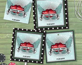 Printable Rockabilly Love Polka Dot Party Images, Editable PDF Instant Download envelope seals, stickers, tags, buttons, cupcake toppers