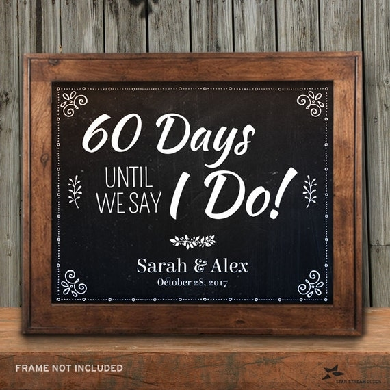 Printable Chalkboard Wedding Countdown Signs Black Sizes - Custom vinyl decal application instructions pdfapplication etsy