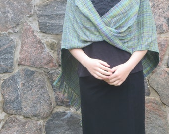 Möbius Handwoven shawl variegated soleil colours fringed birthday gift beach coverup