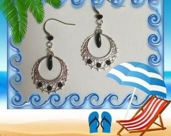 Silver & Black Crystal Earrings