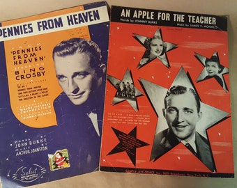 Vintage Sheet Music Bing Crosby An Apple for the Teacher and Pennies From Heaven Collectible Music Room decor
