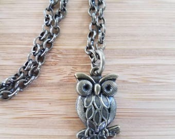Brass Owl Pendant Necklace, Brass Owl Necklace, Brass Owl Pendant, Brass Owl Charm, Brass Chain Necklace, Brass Owl Charm, Brass Pendant