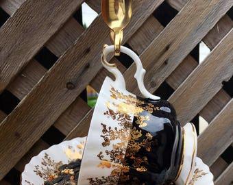 Royal Albert Black and Gold Teacup Bird Feeder with Gold Souvenir Spoon, teacup bird feeder, garden decor, garden ornament, bird feeder