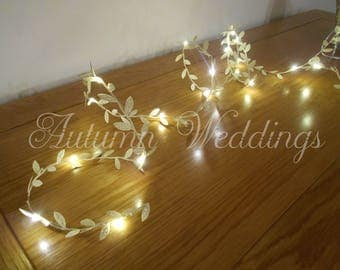 Gold Leaf Fairy Lights 2-10m Garland / String Lights LED Wedding Decorations Weddings Battery Operated Indoor Bedroom Winter Wedding Decor