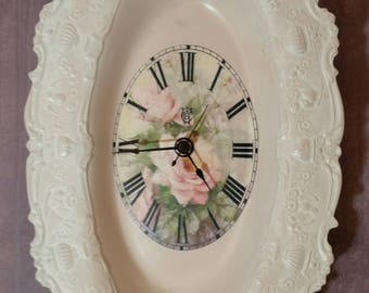 Unique Wall Clock: Vintage Silverplate Tray Mini Clock in Pink