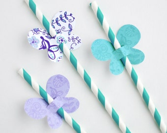 Butterfly Straw Toppers, Butterfly Straw Flags - Purple and Teal - Printable