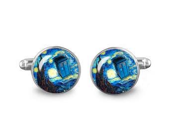 Starry Night Tardis Cuff Links Police Box Cuff Links 16mm Cufflinks Gift for Men Groomsmen Dr Who Cuff links Fandom Jewelry