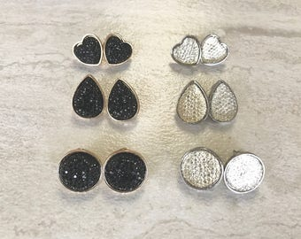 3 pack black or white heart teardrop droplet and circle glitter gems earrings set