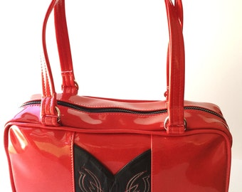 Red Vintage Cowboy Boot Purse, Sparkle Glitter Auto Upholstery Vinyl, Retro Shoulder Bag Tote