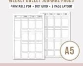Weekly Agenda 2017 • A5 Printable Planner Insert • Bullet Journal Printable Template • Weekly Undated Printable Planner • Wo2P • Dotted Grid