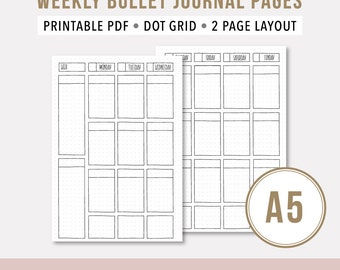 Weekly Agenda 2017 • A5 Printable Planner Insert • Bullet Journal Printable Template • Weekly Undated Printable Planner • Wo2P • Dotted Grid