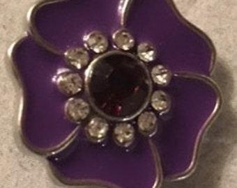 Like Flowers?   New Purple 20mm Interchangeable Snap - Great New Snap!