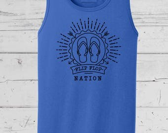 Florida Native Flip Flop Nation Tee, Summer Beach Wear, Summer Collection, Soft comfy mens and ladies tees and tanks.