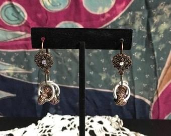 Triple ring silver & copper earrings