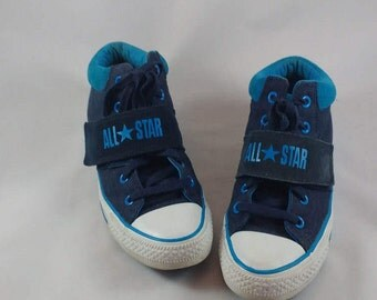Boys Blue Converse, Mid Top Sneakers, All Star Sneakers, Converse Mid Tops, Two Tone Blue, Boys Size 6, Girls Size 8
