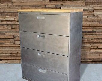 refinished large 4 drawer metal filing cabinet w wood top dresser tool storage