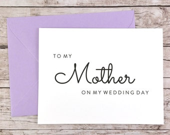 To My Mother On My Wedding Day Card, Mom Card, Wedding Day Card, Mother of the Bride, Mother of the Groom  - (FPS0016)