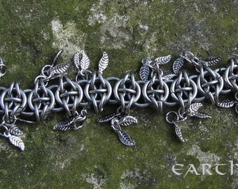 Chainmail Celtic Visions Bracelet with Silver Leaves, Stainless Steel Chainmail Bracelet, Chainmaille Bracelet, Charm Bracelet