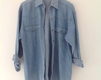 Denim shirt, jean shirt, vintage shirt, womens blouse, oversized, stonewashed denim shirt, 90's clothing, ladies top, western shirt