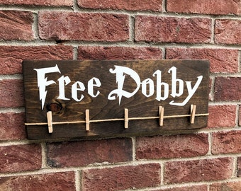 Free Dobby Wood Sign / Dobby Harry Potter House Elf / Laundry Room Sock Hanger / Painted Sign / Donate Single Socks / Lost Socks / S.P.E.W.