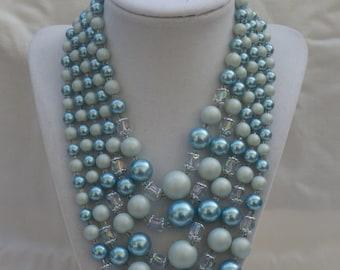 Vintage 5 Strand Blue and White Bib Necklace