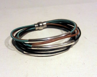 Leather cuff, Modern design colored leather and silver tubes bracelet with magnetic clasp, Three colors leather lace wrist band,
