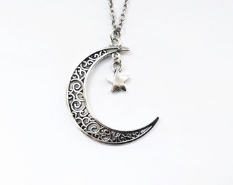 Silver Crescent Moon Necklace | Moon and Star Necklace