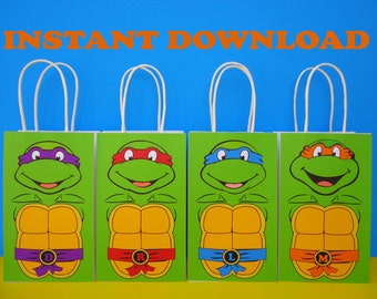 PRINTABLE--> Ninja Turtles TMNT Birthday Party Favor Bags/ Supplies/ Favors/ Goodie/ Goody/ Loot/ Treat/ Candy/ Gift/ bags/ bag/ Decoration