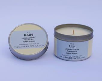 Lemon verbena, Pink peony, Ylang ylang - handmade scented candle 100% soy wax in a tin 100g