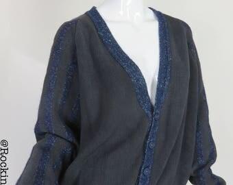 80s Oversized V Neck Button Front Sweater Black Knit Sweater Confetti Blue Stripe Detail Size Medium