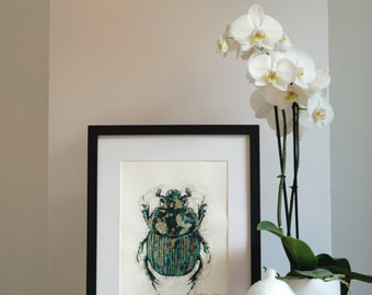 African Beetle. Original Print. Etching Beetle Print. Ink detail in gold and green. Limited Edition Print. Gift Idea. Home Decor