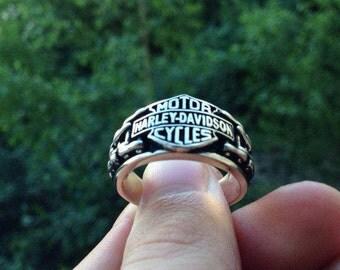 Ring Harley Davidson.Silver ring.Man's Ring.Biker ring.