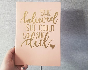 Notebook/Journal coral and gold She Believed She Could so She Did embossed
