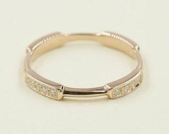 Diamond Wedding Band,Diamond Rose gold wedding Band.14k White,Yellow Gold.Diamond Ring.Stacking Ring.0.21ct