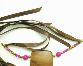 Robles Wood with Fuchsia Czech Glass Bead Ribbon Tie Necklace