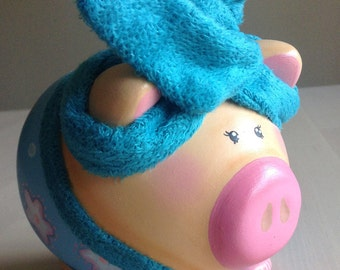 Hand-painted, Hand-crafted piggy bank, piggy in bathrobe