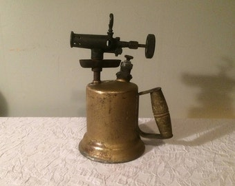 Vintage Brass Blow Torch with Wooden Handle