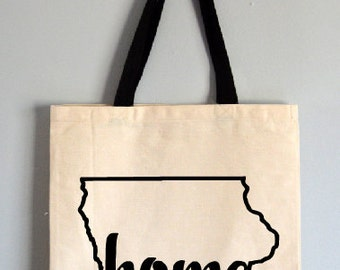 Iowa tote bag, State Tote Bag, Novelty Tote Bag, Home tote bag, tote gift, Iowa gift, state canvas bag, Iowa home gift, home  tote bag