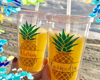 Pineapple tumbler Bridesmaid Gift Bachelorette Party Pineapple Cup Acrylic Tumbler Personalized Cup Pineapple Gift Bridal Shower Monogram