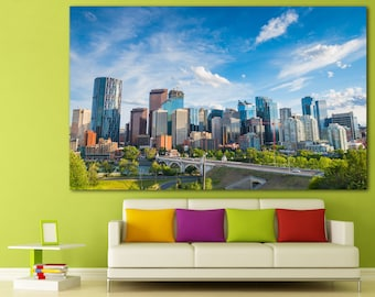 Large Calgary Canada Wall Art Print, Calgary Cityscape Photography Home Decor, Calgary Wall Art, Calgary Skyline Canvas Print Set Wall Decor