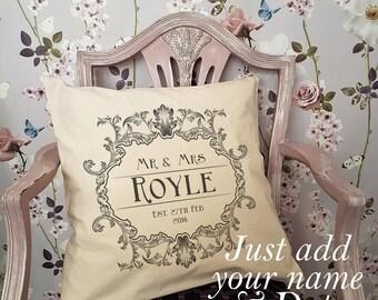 Personalised Cushion Mr & Mrs Wedding Couple Est.