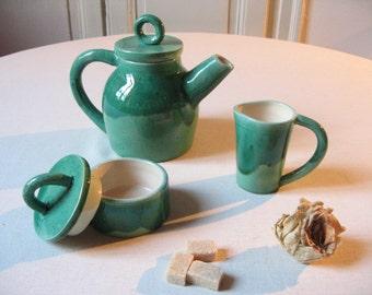 Green glazed earthenware tea set / pottery craft vintage / teapot, sugar bowl, creamer / ceramic hand made / Retro rustic boho