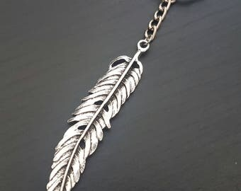 Large Feather Silver-tone Keychain