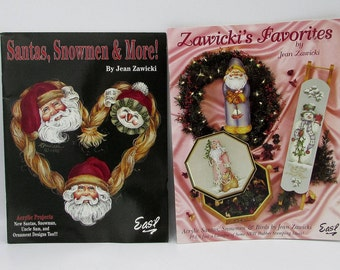 Two winter and Christmas painting books, Jean Zawicki decorative painting books, how to paint books, tole painting, Santa painting projects