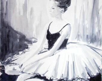 Original ballerina painting,watercolor ballerina painting,ballet painting,ballet watercolor,ballerina sitting,black and white ballerina art
