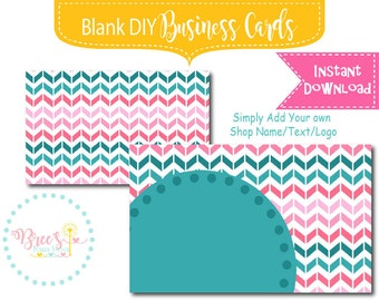 Turquiose and Pink Chevron Business Card design Blank Instant download DIY template